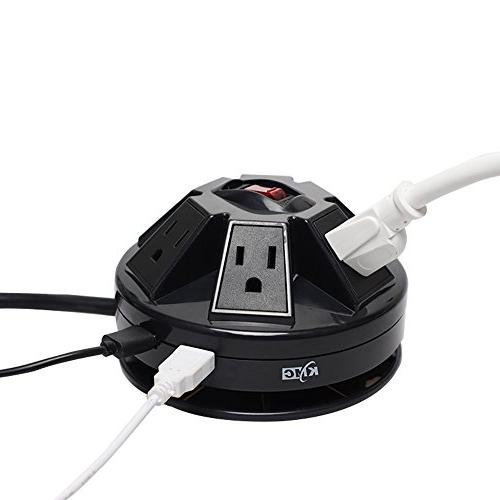 KMC 6-Outlet Surge USB 15A Wire Extension Socket