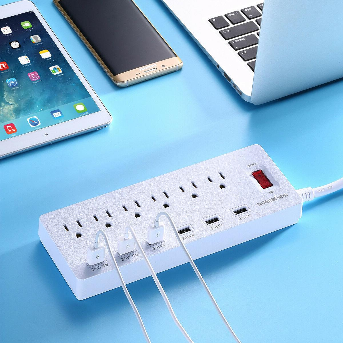 6 Outlet Surge Protector Power Strip with USB Charging