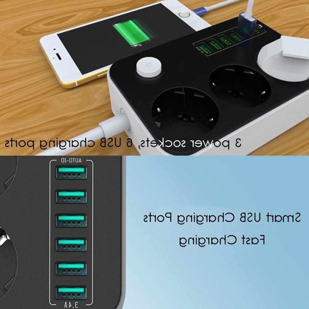 6 USB Socket Charger Extension <font><b>power</b></font> Charging 2500W <font><b>Power</b></font> <font><b>Strips</b></font> extension EU Plug