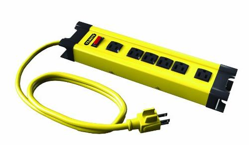 Stanley 6 Outlet Yellow & Black Metal Power Strip With 10' C