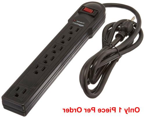 6 outlet 1875w safety surge protector angle