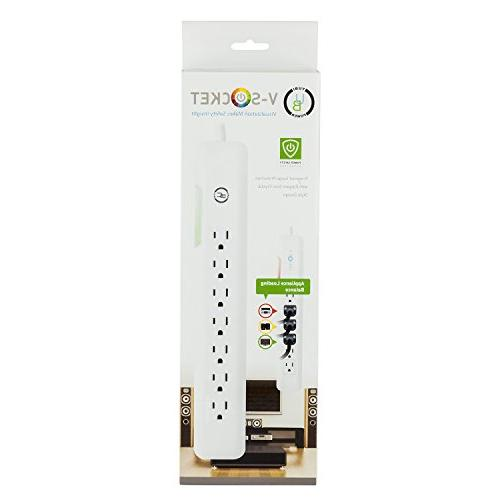 Yubi AC Outlet Power Strip with 540 Surge Protection & New V-Socket Status Changing and 4