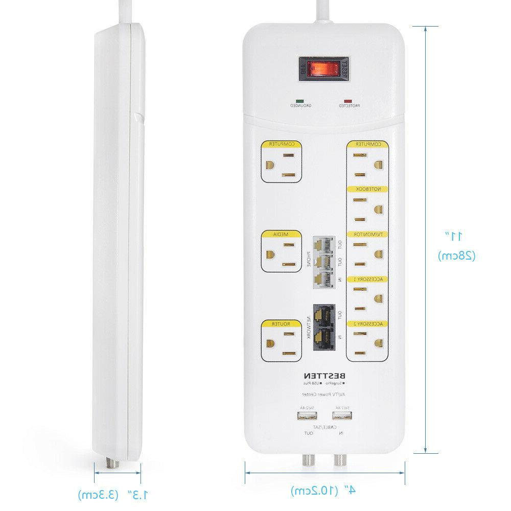 8 Outlet 2 Port Protector Power Strip w/ Duty Extension Cord