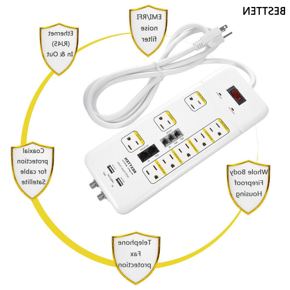 8 Port Surge Protector Strip w/ Duty