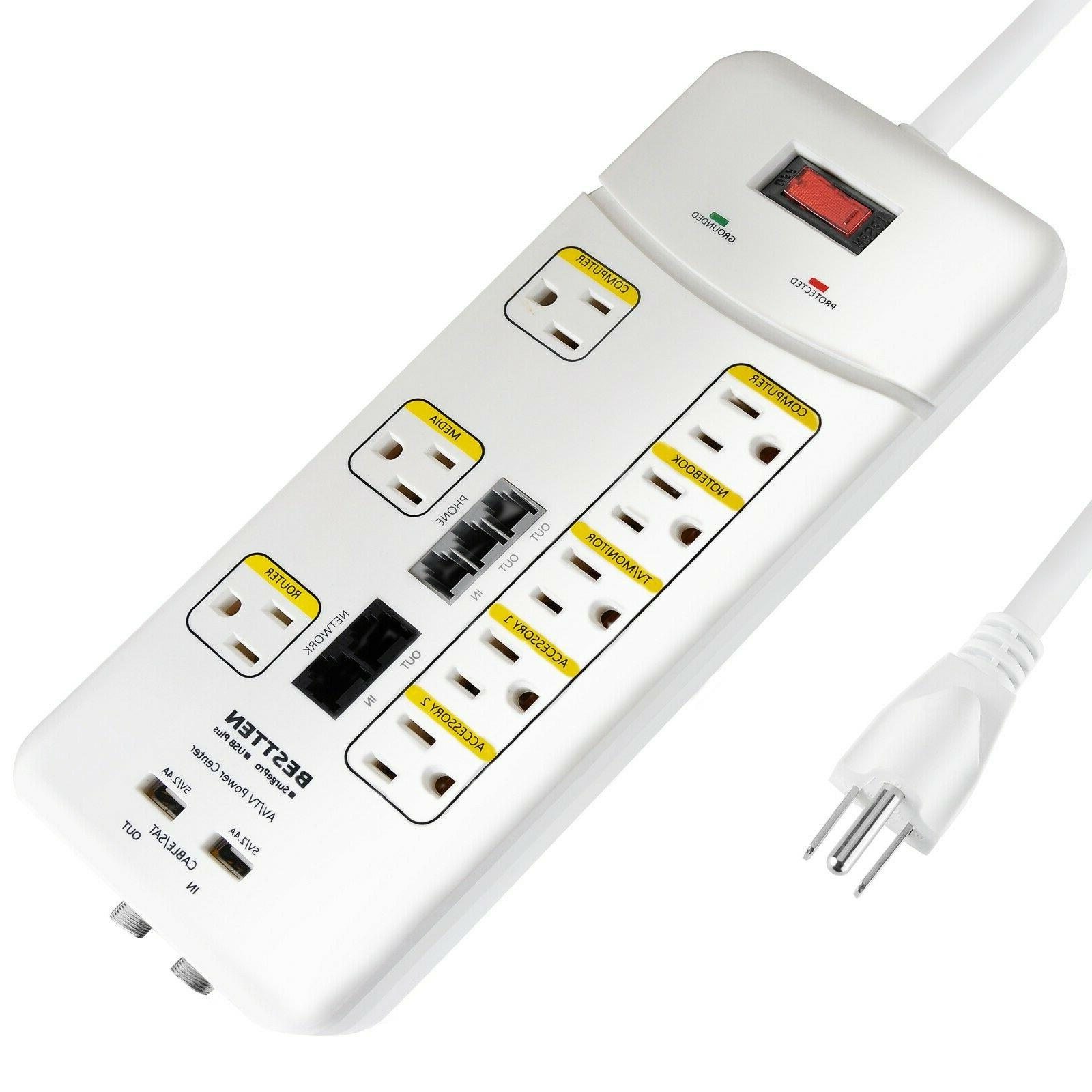 8 outlet 2 usb port surge protector