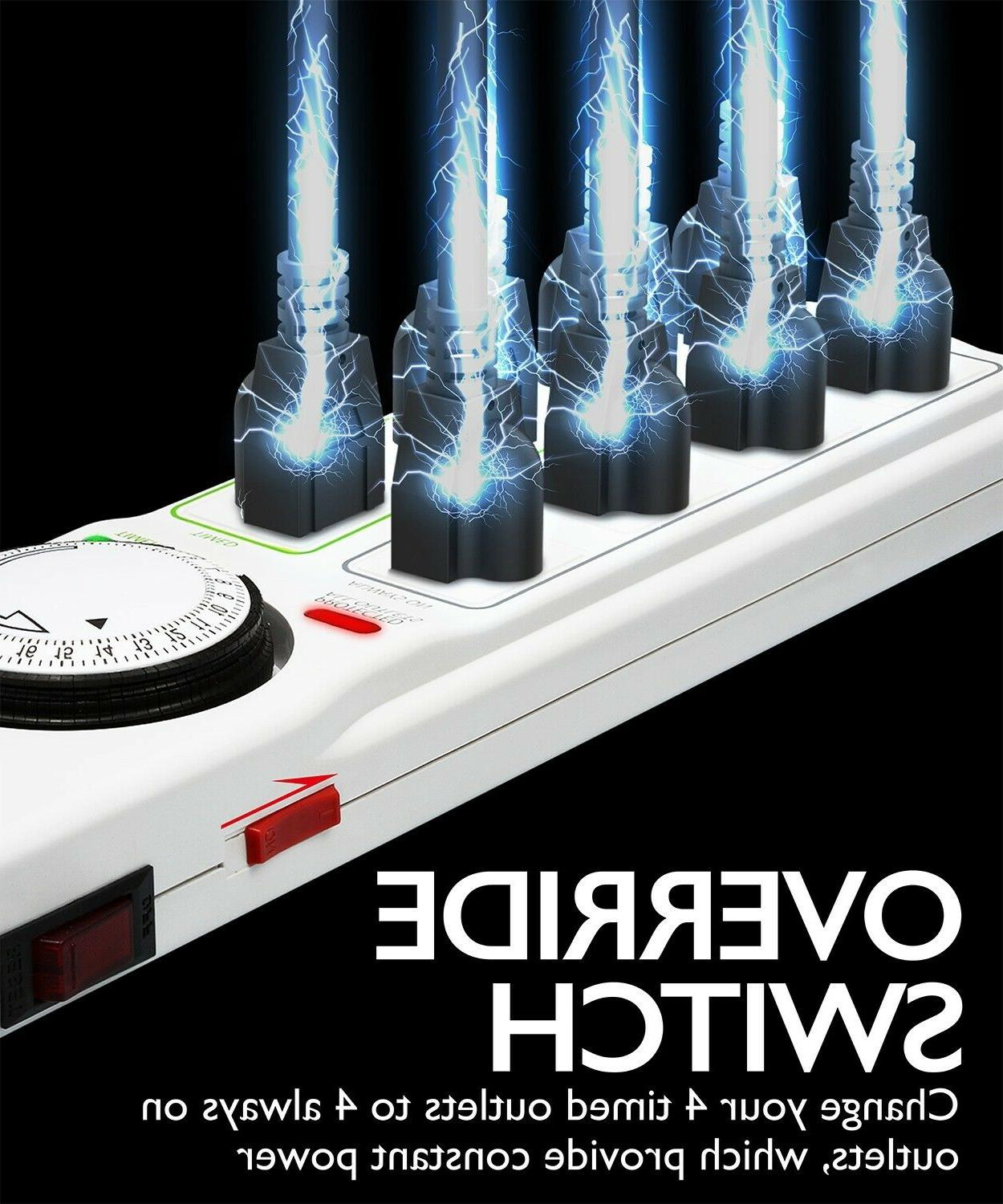 8 Power Strip 24hr Programmable Timer Surge Protector Mount