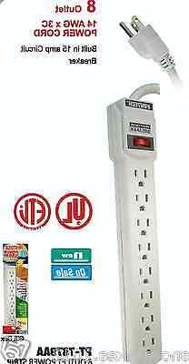 8 OUTLET POWER STRIP WITH RESET CIRCUIT BREAKER- UL LISTED -