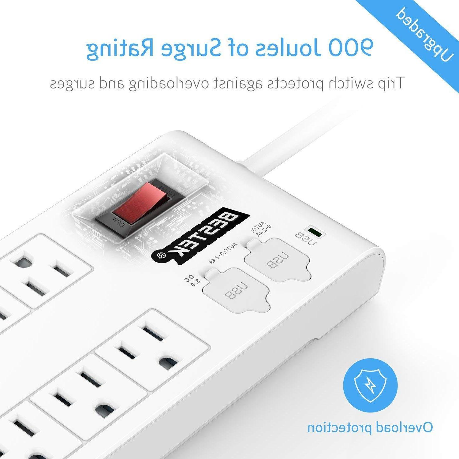 BESTEK 8 Outlet  Surge Protector Power-Strip-6-Feet-Cord-wit