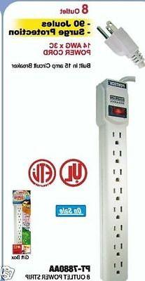 8 OUTLET POWER STRIP WITH SURGE PROTECTOR AND SAFETY CIRCUIT