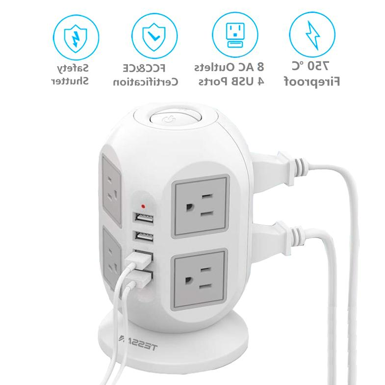 8 widely space outlets power strip surge