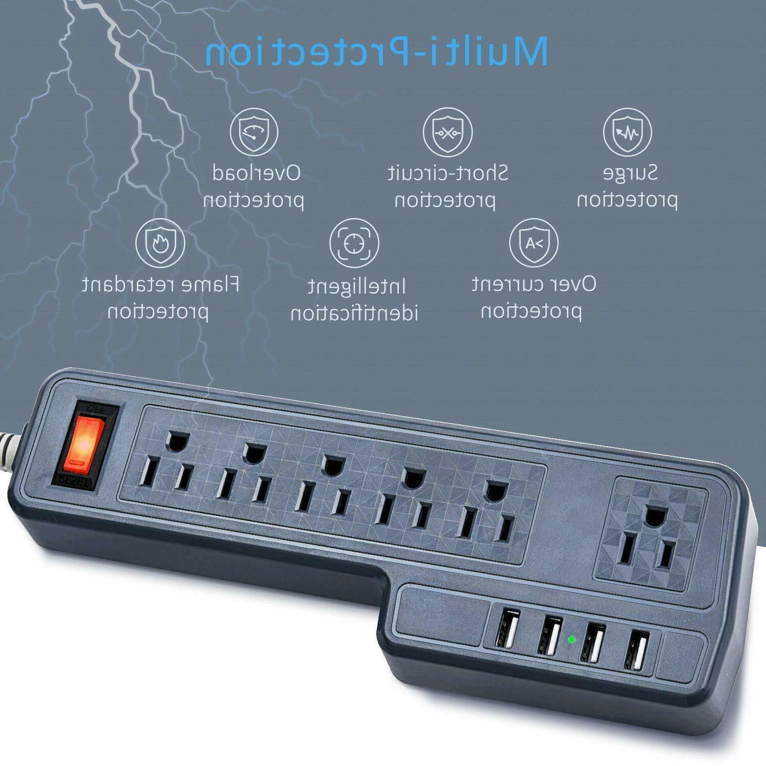 9.8ft Mountable Protector Outlets 4 Gray