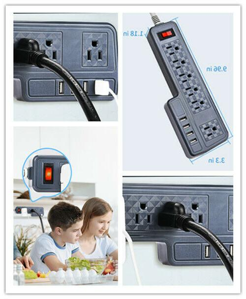 9.8ft Mountable Protector Power Strip 6 Outlets Gray