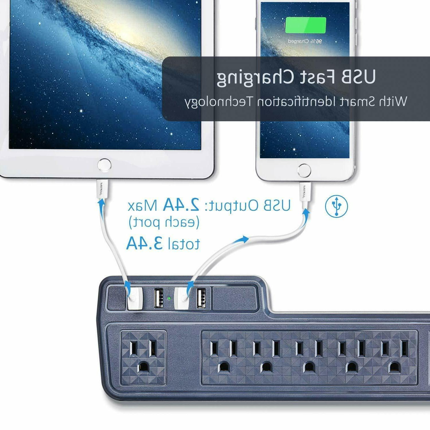 9.8ft Mountable Protector Outlets USB Ports