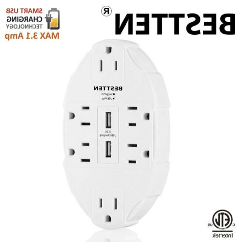 BESTTEN 6 Outlet Wall Tap Adapter with Dual USB Charging Por