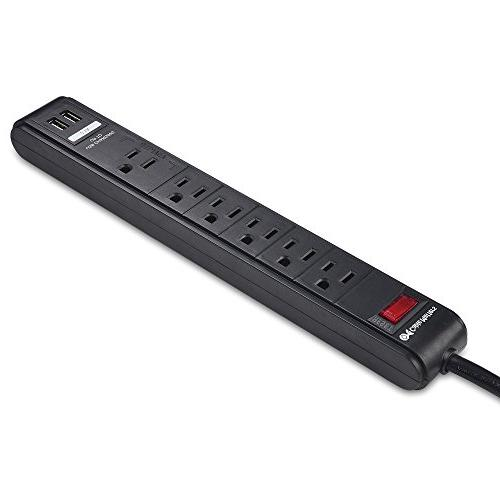 Cable Matters 6 Surge Protector Strip with USB Ports / 8 Cord in Black