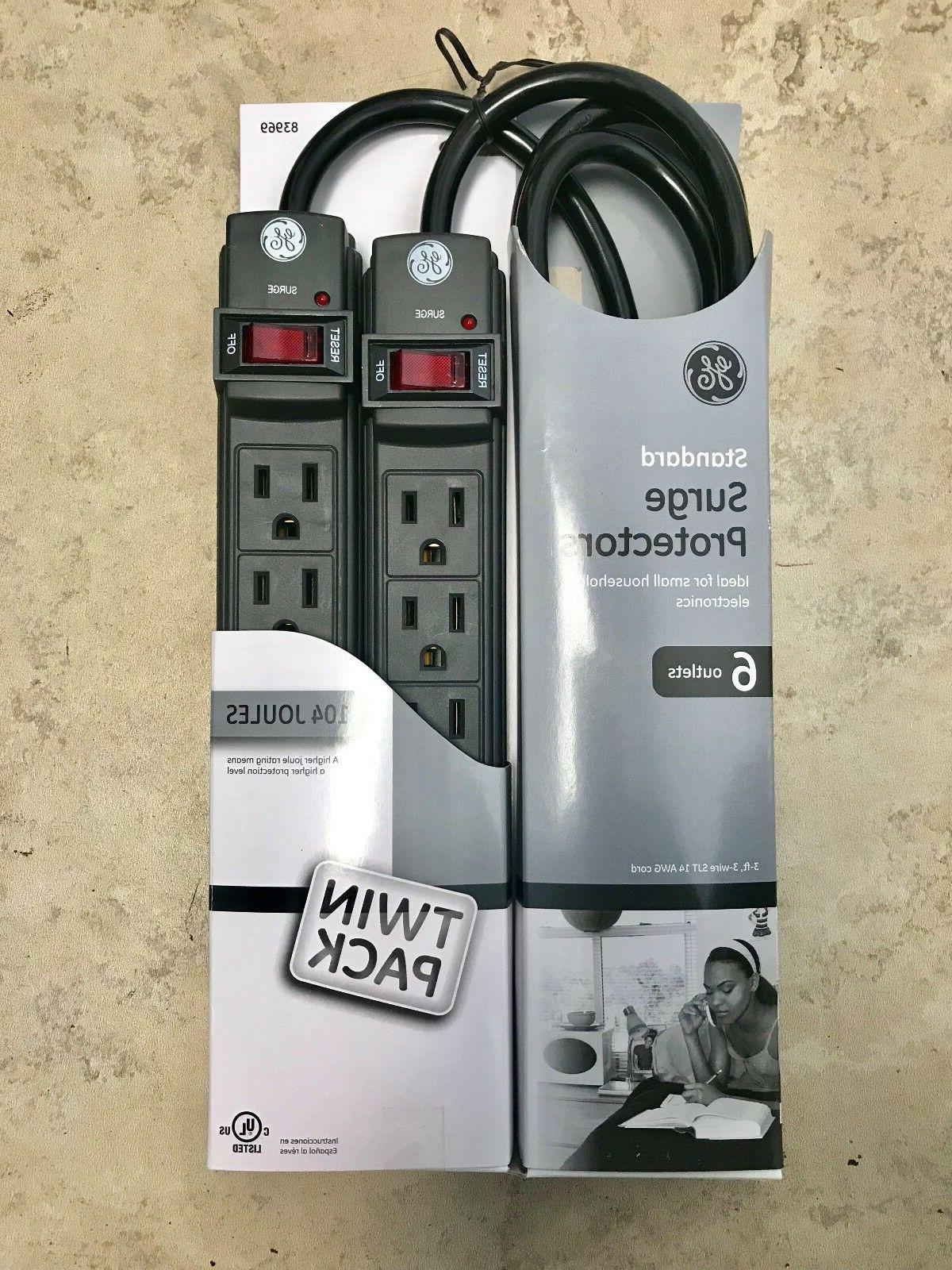 GE 6 Grounded Outlet Surge Protector, 450 Joules, 2 Pack Pow
