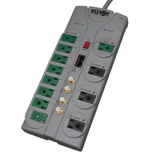 Tripp 12 Outlet Surge Protector 10ft Cord, Right-Angle Lifetime INSURANCE