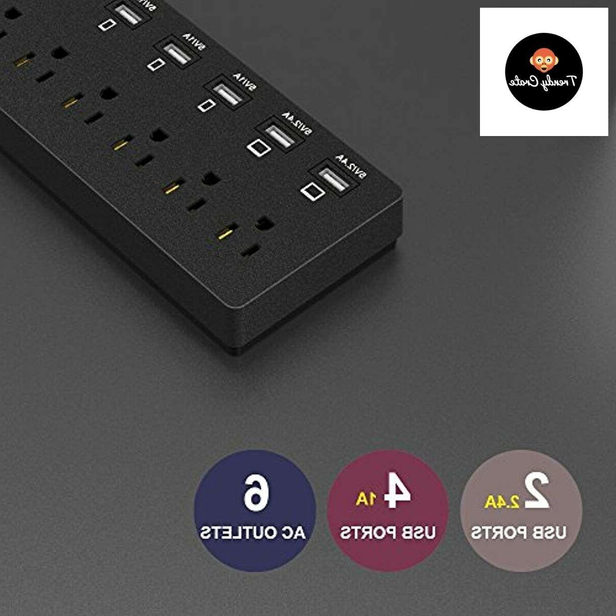 BEST Surge Strip With 6 USB Multi Port Plug Wall