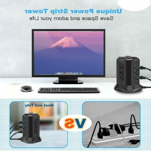 BEVA with 9 AC-Outlets/USB Ports Switch Cable