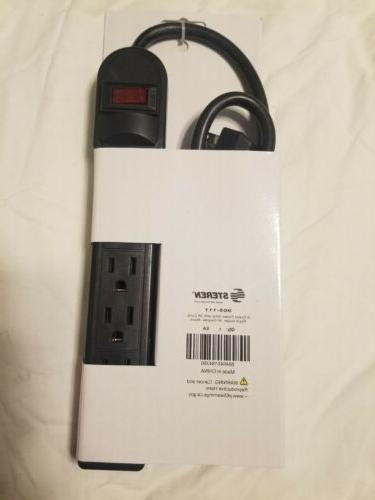 black 6 outlet power strip 3ft cord