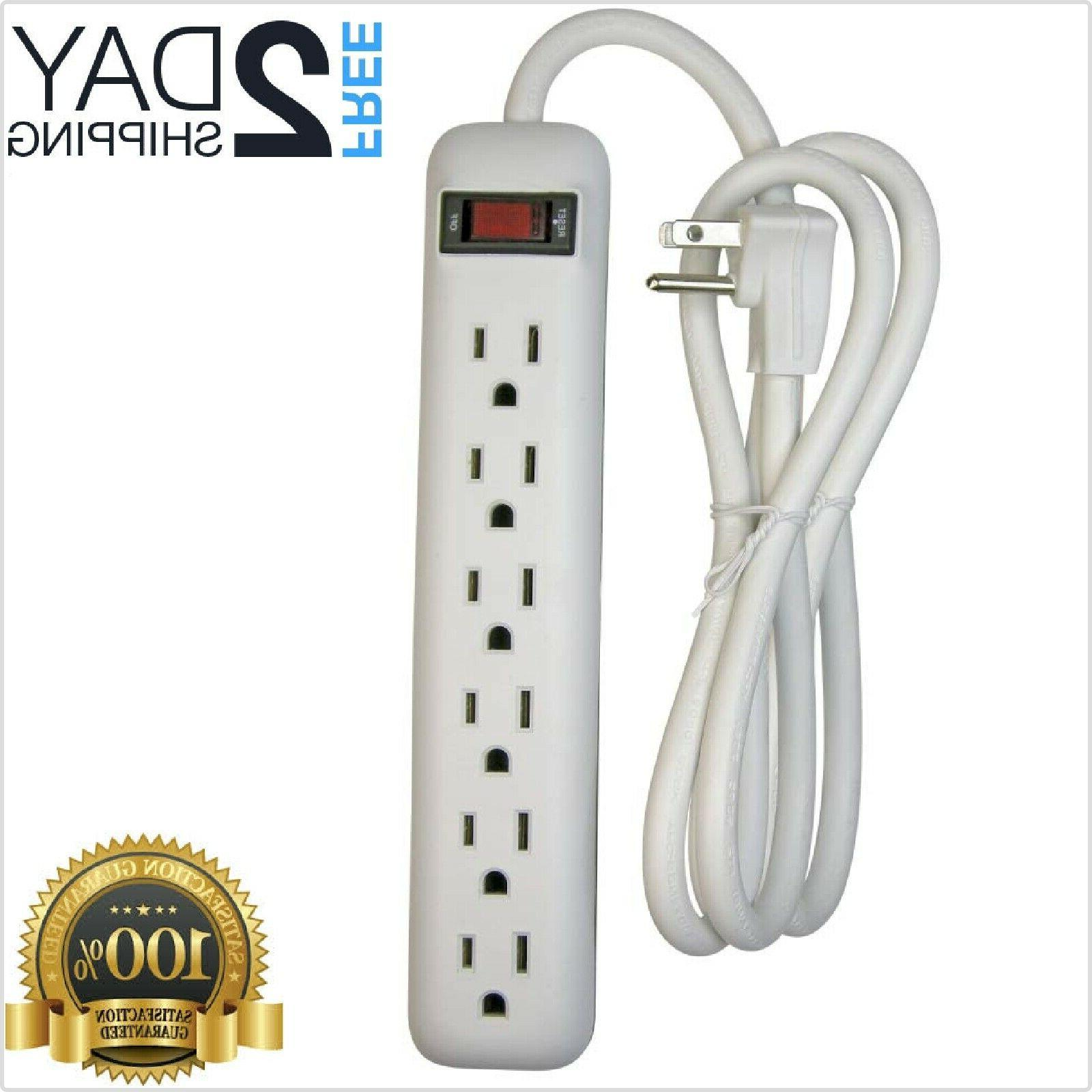black 6 outlet power strip with surge