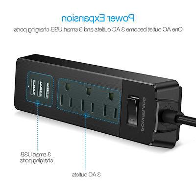 3-Port Power Strip 3 USB Charging W/