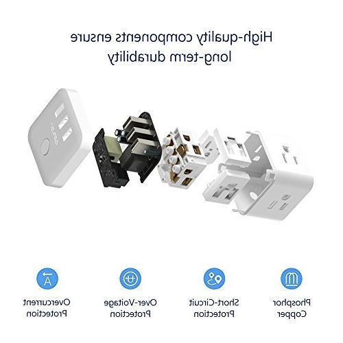 JSVER 3 Cube Power Strip with 3 Smart Ports 4.92Ft Cable,