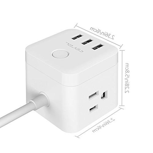 JSVER Outlet Cube Strip with 3 Smart Ports and a Cable, White
