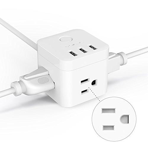 JSVER 3 Outlet Compact Cube Power 3 Charging Ports a Cable, White