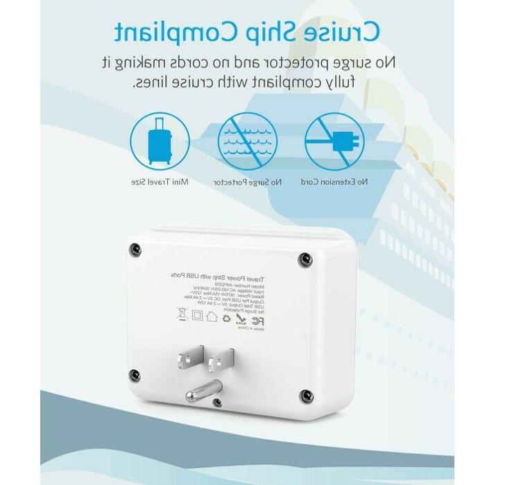 Cruise No Surge Aicliv Outlet Extender with 2 USB Wall