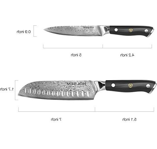 Damascus Chef's Set, 7-inch and 5-inch Utility made of High Carbon VG-10 by HOLSEM