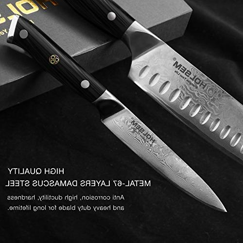 Set, and Utility Knife, of VG-10 Stainless Steel, HOLSEM