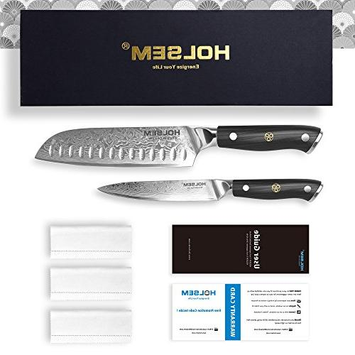 Damascus Chef's Knife and 5-inch made of VG-10 Stainless by HOLSEM