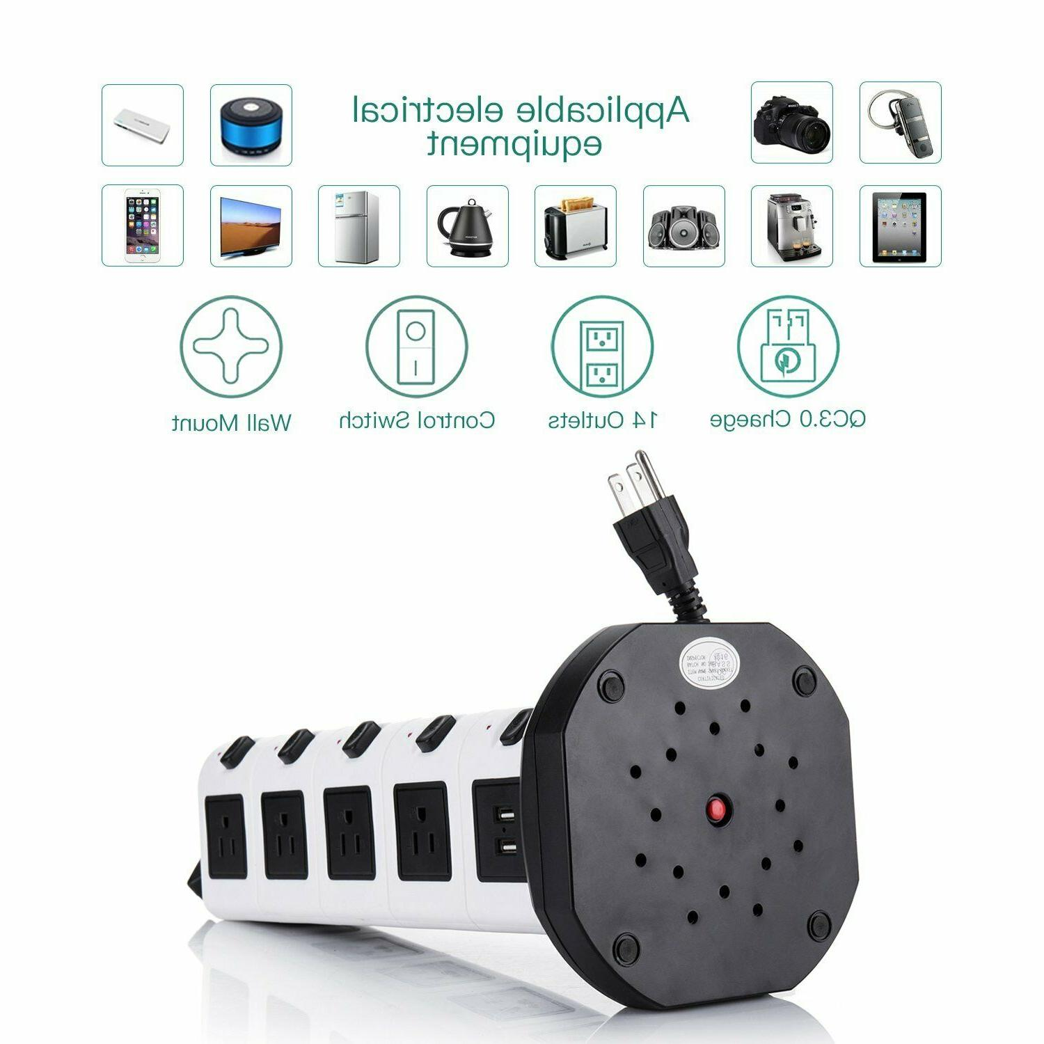 JACKYLED Electric 18 Plugs with 4 USB Cord