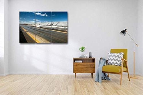 Empty Drag Racing strip3 Pieces Print Wall Photography Home Stretched and Piece