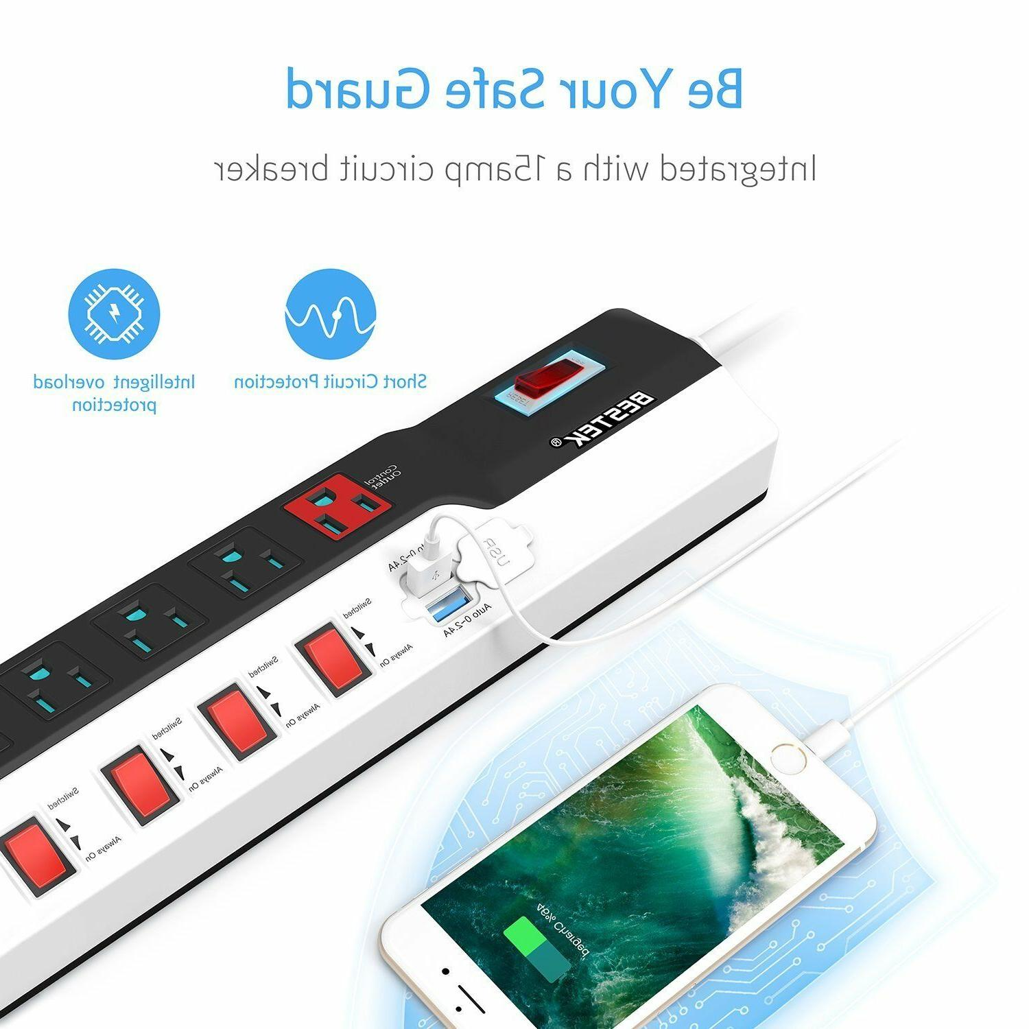 BESTEK Surge with 8-Outlet Extension and Charging