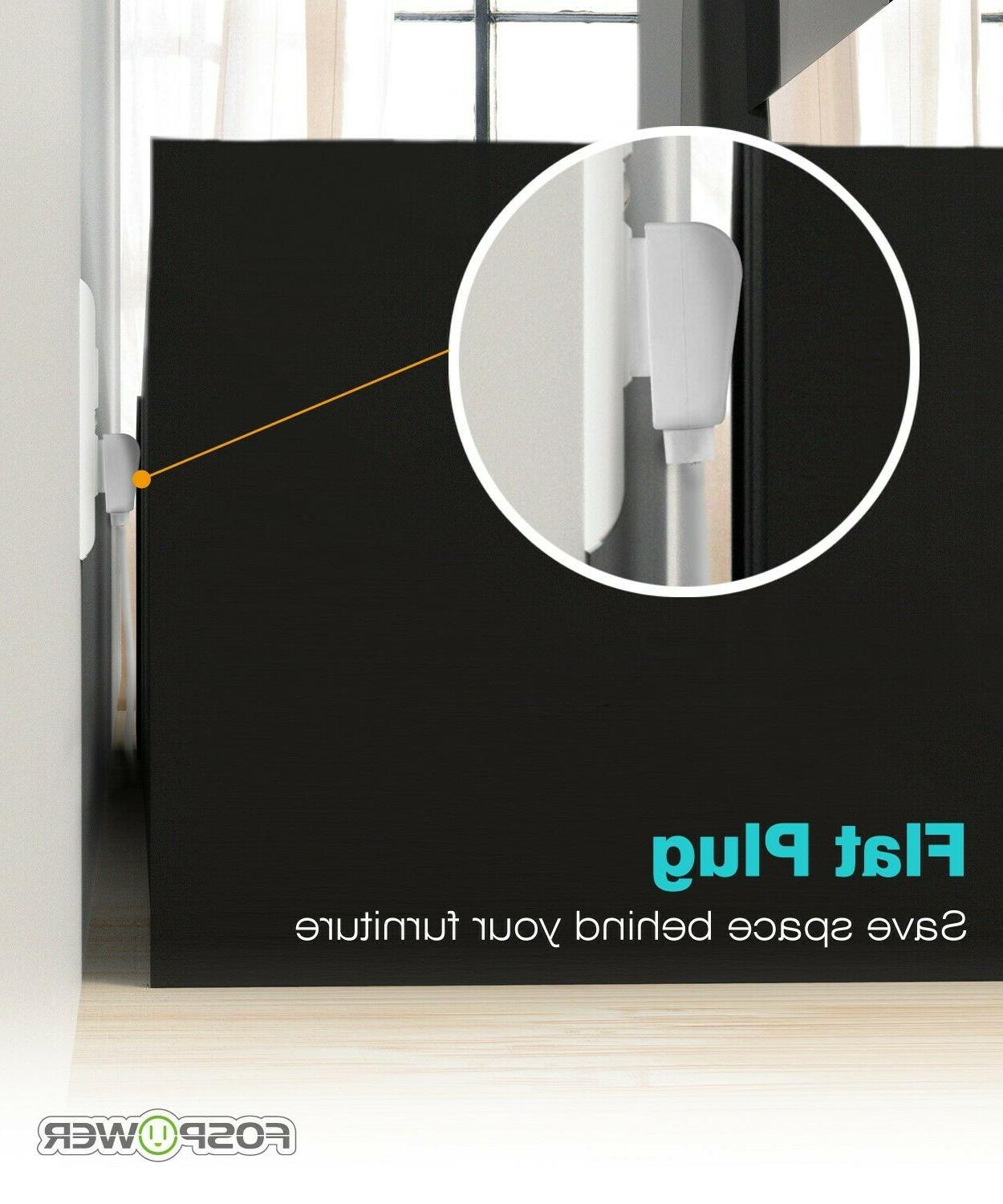 3 Power Adapter Flat Plug Extension Cord