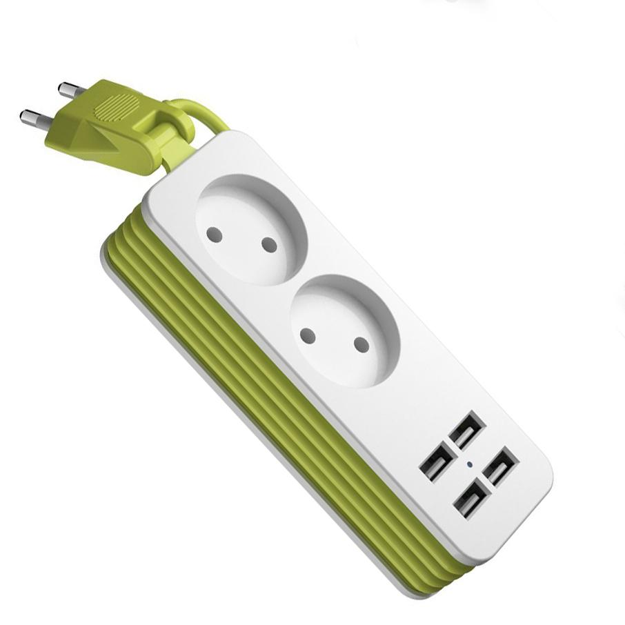 EU Plug <font><b>Power</b></font> Wall 4 USB Mobile 1200W <font><b>Cable</b></font> for