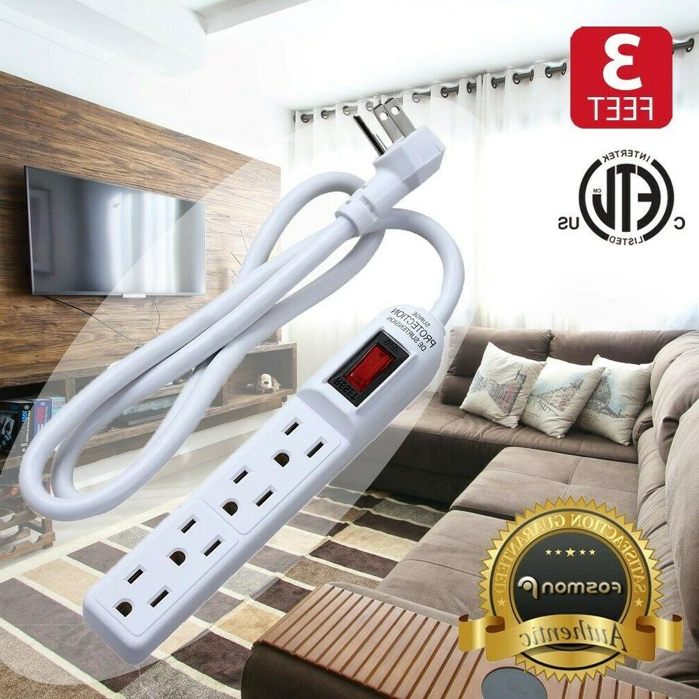 flat plug extension cord 3prong 4outlet extender