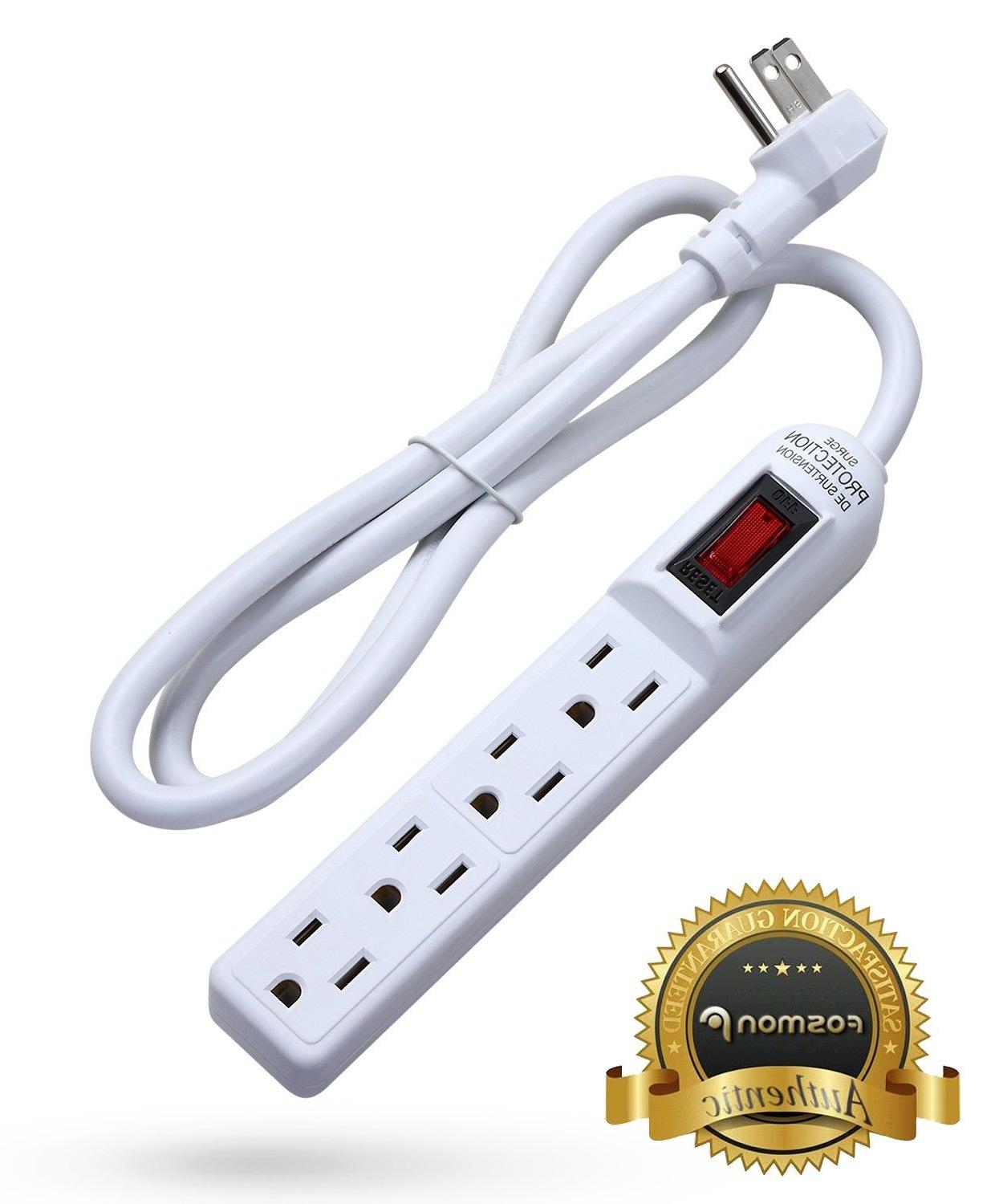 Flat Plug Cord 3Prong 4Outlet Surge Protector 3FT