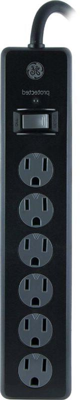 Flat Plug GE Power Strip Surge Protector, 6 Outlets, 4ft Pow
