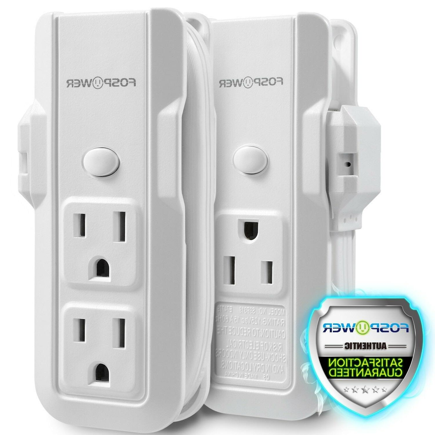 2x Mini Power Strip Wall 3 Outlet 8.3inch Cord Cable Extensi