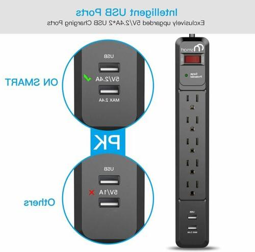 Mountable Surge Protector with USB Ports and 6ft Extension Cord
