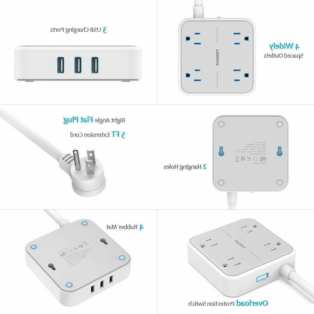 TESSAN Mountable Power with Ports,4 Outlets and Cord