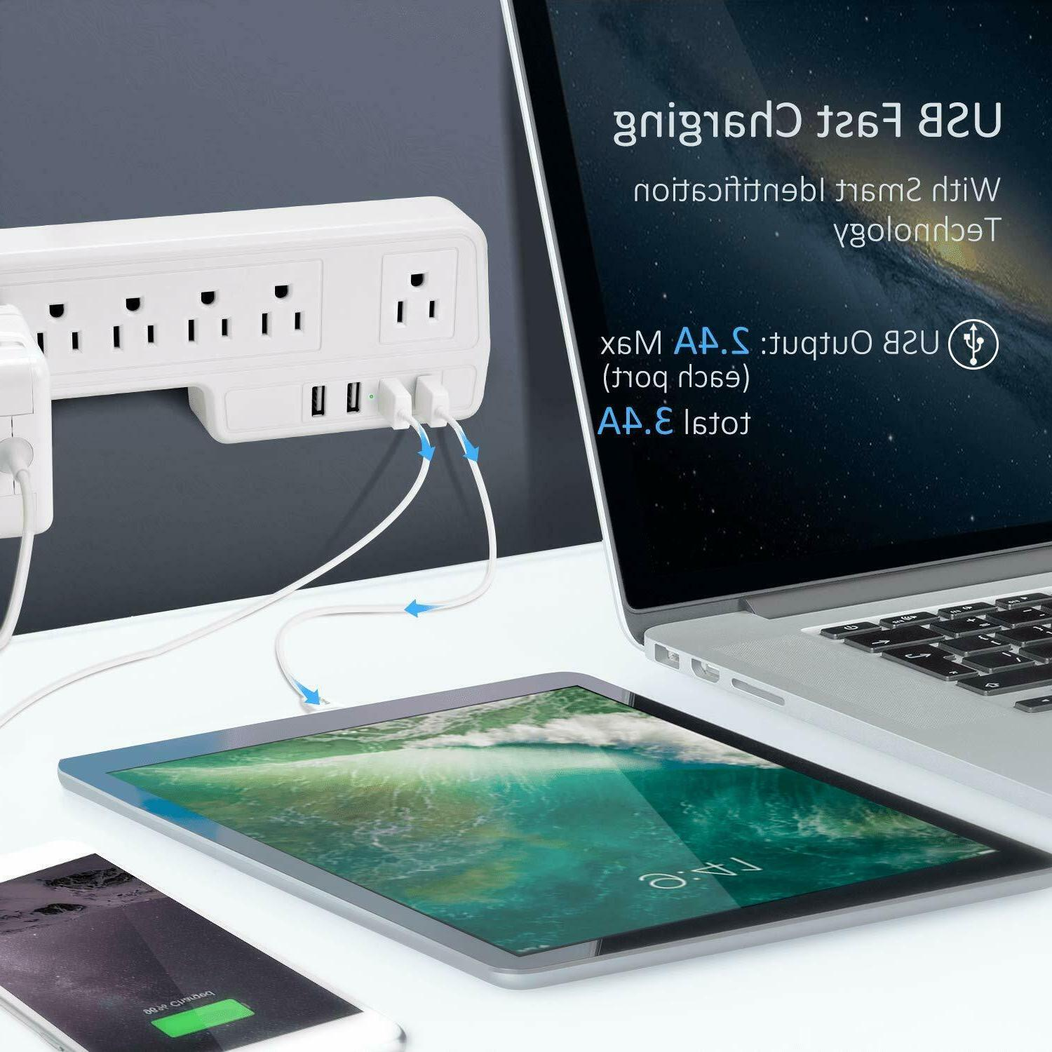 JACKYLED Power 9.8ft 6 Outlets USB White