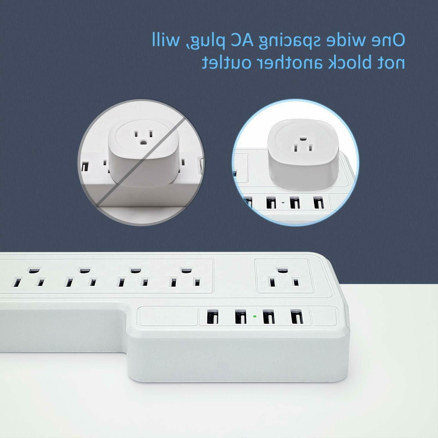 JACKYLED Mountable Power 9.8ft Outlets 4 Ports White