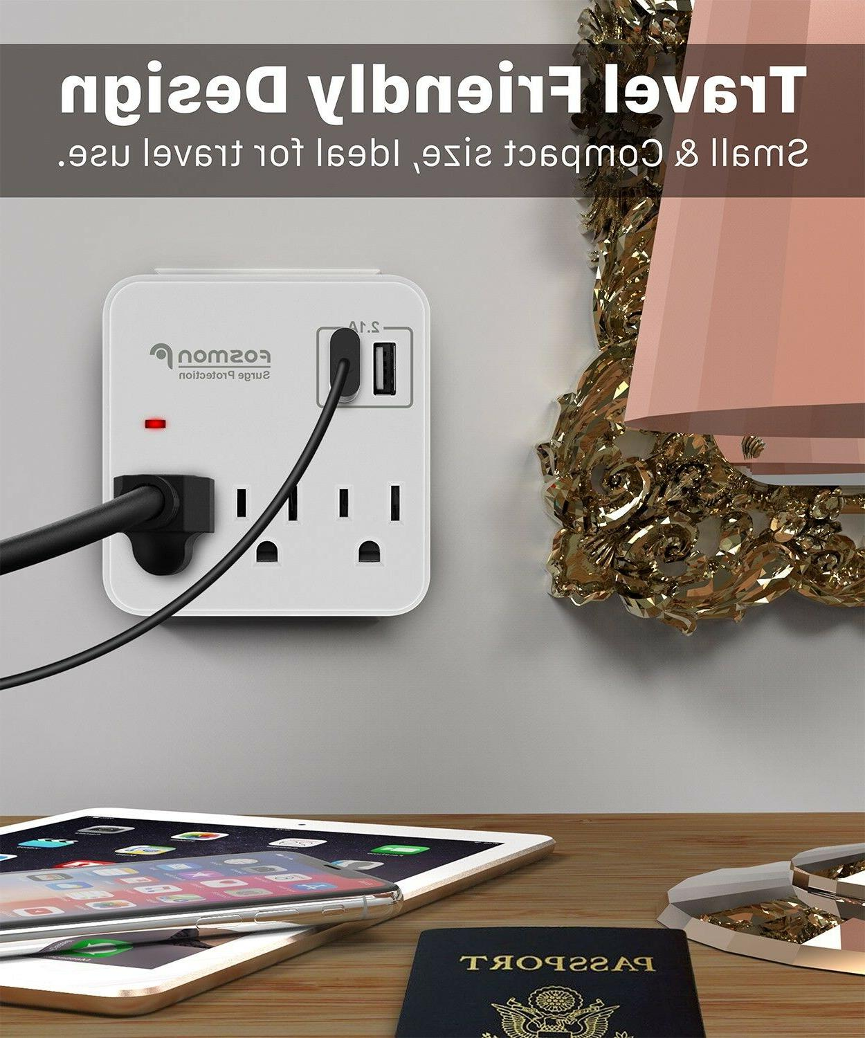 Multi 2 Outlet Port Surge Protector Strip Adapter Charger