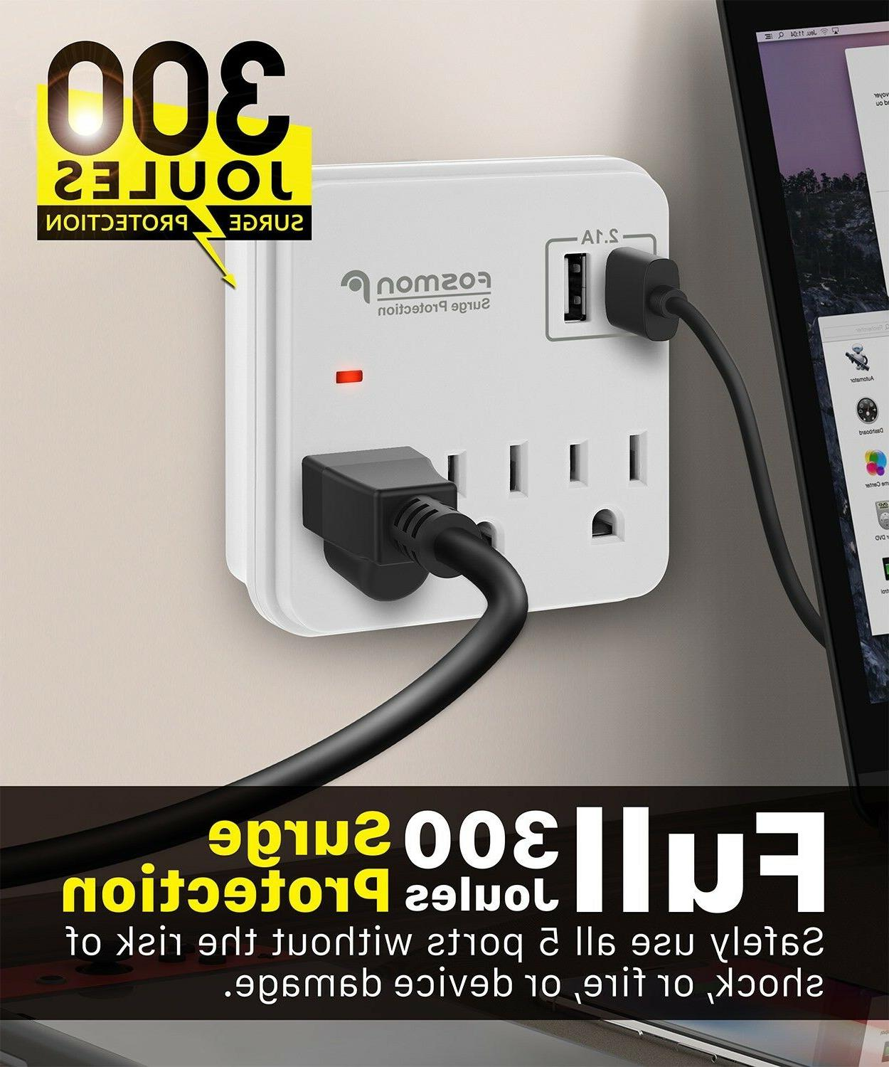 Multi 2 Outlet Surge Protector Adapter