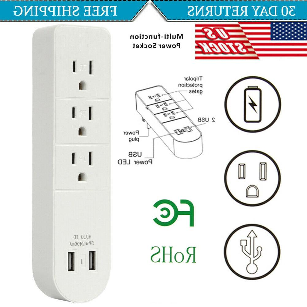 multi 2 usb 3 outlet port wall
