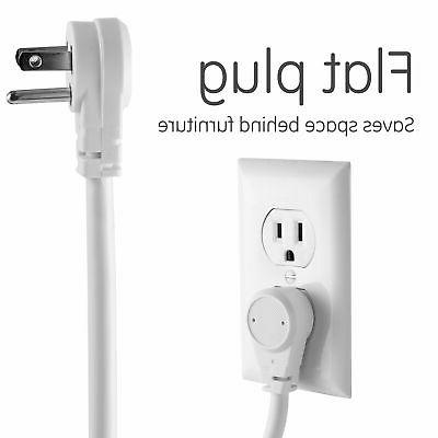 Power 6 Outlets Extra Long Cord Flat